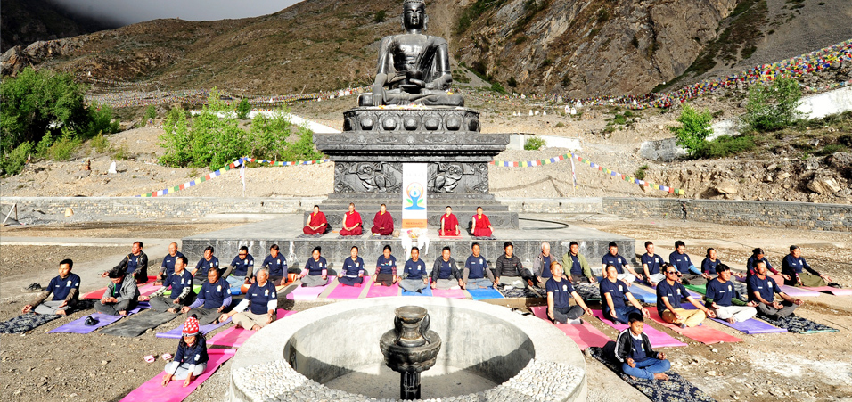 Monks and locals celebrate 4th International Day of Yoga at Muktinath, Nepal at 12500 feet above sea level.