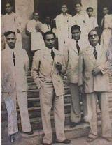 Dr. Ambedkar with Mr. Homi Bhabhanand and other colleagues at Siddharth College