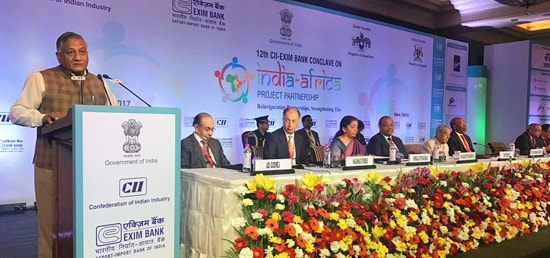 Minister of State for External Affairs General (Dr) V K Singh (Retd) addresses the 12th CII-EXIM Bank Conclave on India Africa Project Partnership in New Delhi