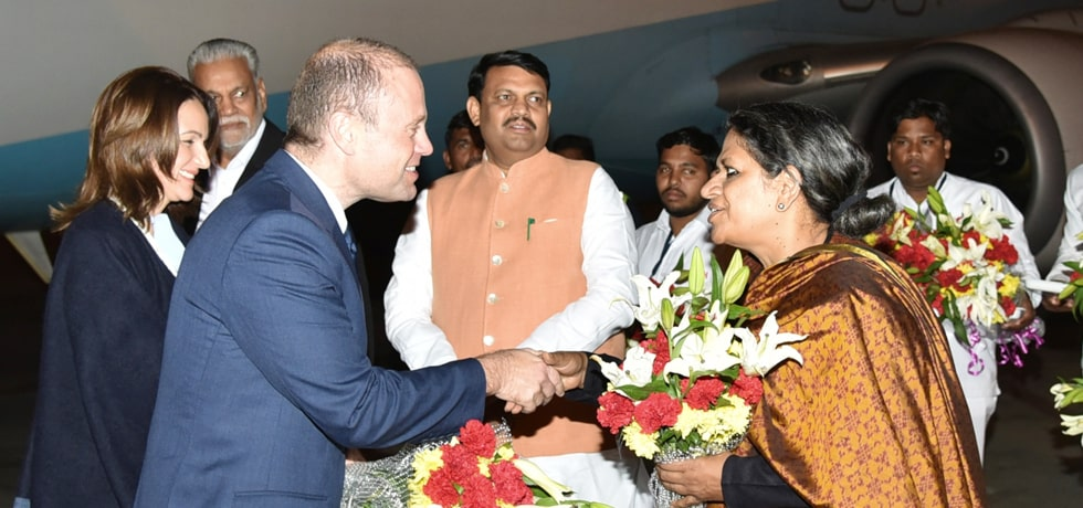 Joseph Muscat, Prime Minister of Malta arrives in Ahmedabad to attend Vibrant Gujarat Summit