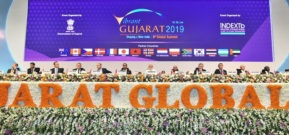 Prime Minister and HoS/HoGs of Uzbekistan, Denmark, Malta and Czezh Republic attend Inaugural Session of Vibrant Gujarat 2019