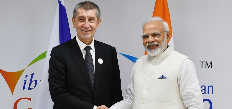 Prime Minister meets Andrej Babis, Prime Minister of Czech Republic on sidelines of Vibrant Gujarat Summit 2019