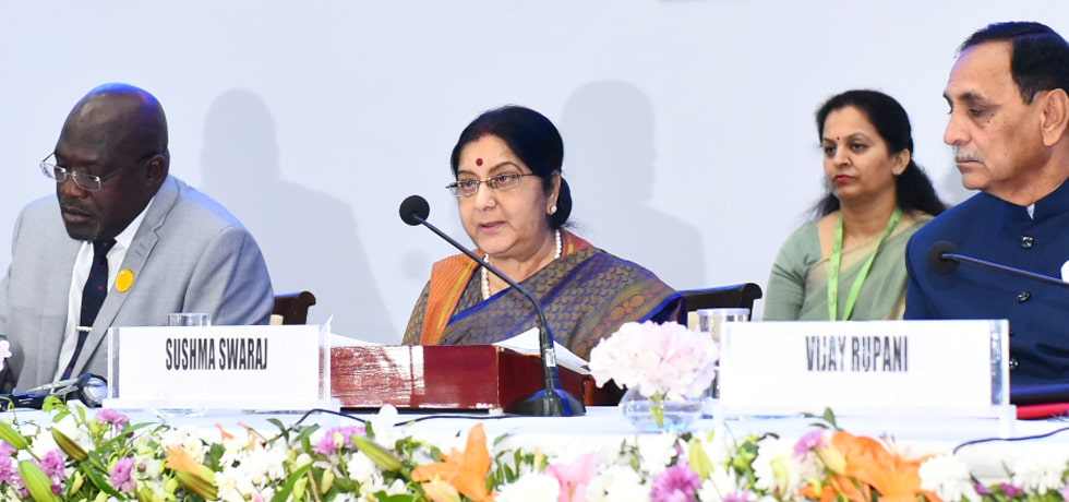 External Affairs Minister delivers her address at Africa Day Event during Vibrant Gujarat Summit 2019
