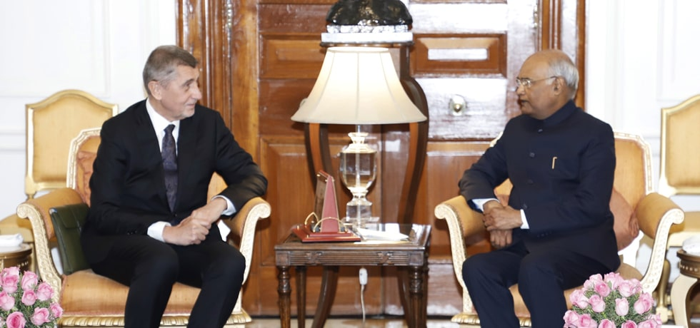 Andrej Babis, Prime Minister of Czech Republic calls on President at Rashtrapati Bhawan in New Delhi
