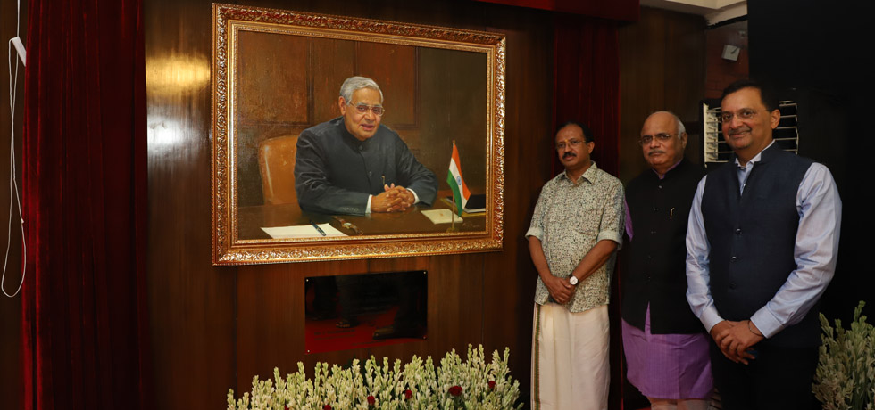 Minister of State for External Affairs at the unveiling of former PM and ICCR President Shri Atal Bihari Vajpayee's portrait at Azad Bhawan, ICCR