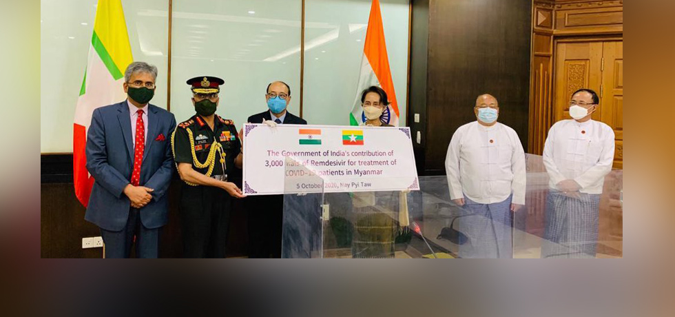 Foreign Secretary and COAS hand over 3000 vials of Remdesivir to Daw Anug San Suu Kyi, State Consellor of Myanmar