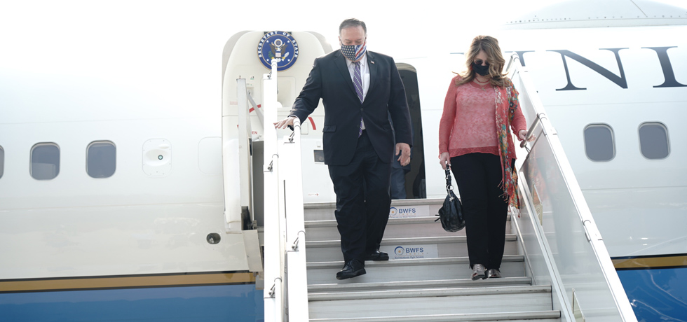 Michael R. Pompeo, U.S. Secretary of State arrives for 3rd 2 plus 2 Ministerial Dialogue in New Delhi