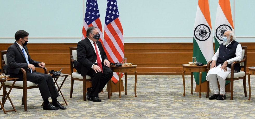 U.S. Secretaries of State and Defense, Michael R. Pompeo and Mark T. Esper called on the Prime Minister in New Delhi
