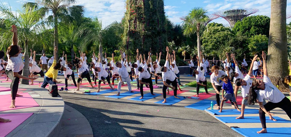 International Yoga Day 2019 celebrations at Gardens by the Bay by High Commission of India, Singapore