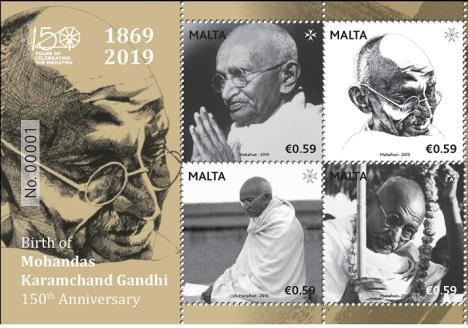 MaltaPost issues Commemorative Postage Stamps on Mahatma Gandhi (Malta) ...
