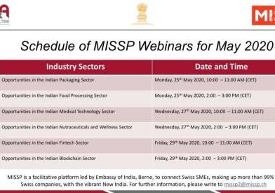 Schedule of MISSP Webinars for May from Embassy of India, Berne. (Switzerland) ...